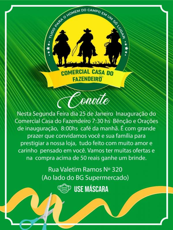 Inauguração do Comercial Casa do Fazendeiro acontece nesta segunda dia 25(Imagem:Divulgação)