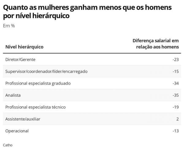 Diferença salarial entre mulheres e homens por nível hierárquico.(Imagem:Economia G1)