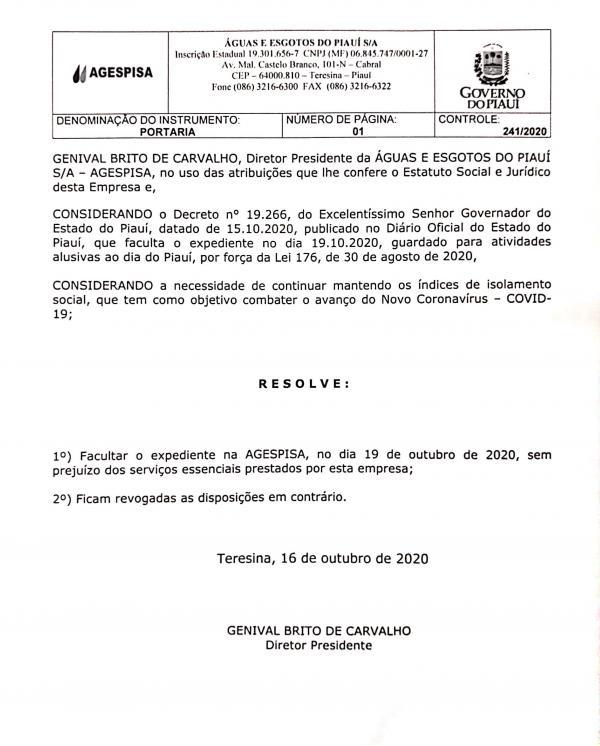 Portaria da Agespisa(Imagem:Divulgação)