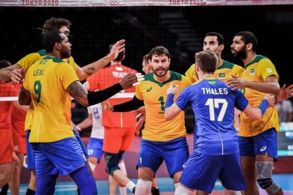 De virada, seleção masculina de vôlei vence EUA e reage na Olimpíada(Imagem:Divulgação)